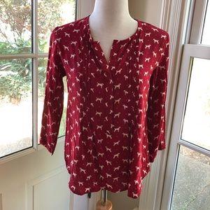 Anthropologie Porridge red & white dog blouse